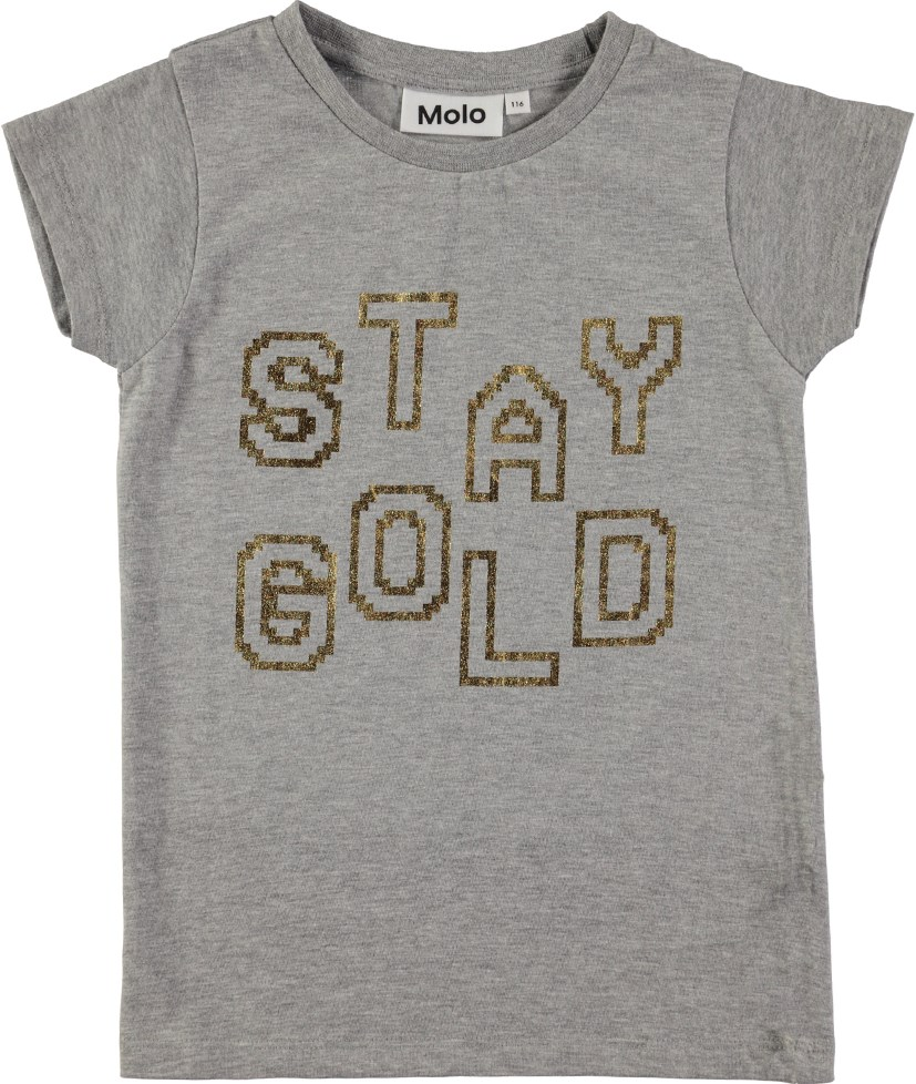 Ruana - Stay Gold - Grey t-shirt with gold letters