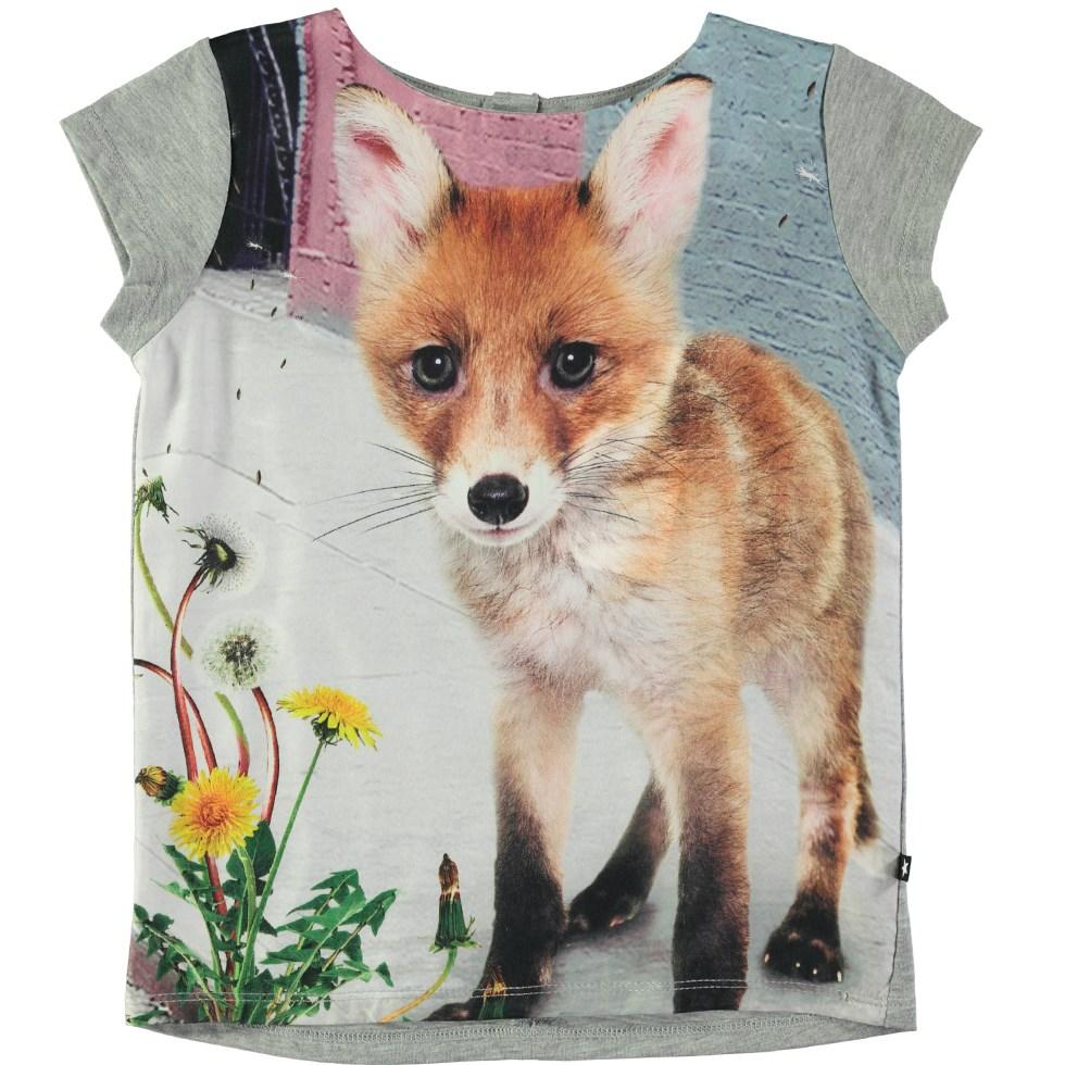 Rubertha - Urban Fox - Grey t-shirt with digital fox print