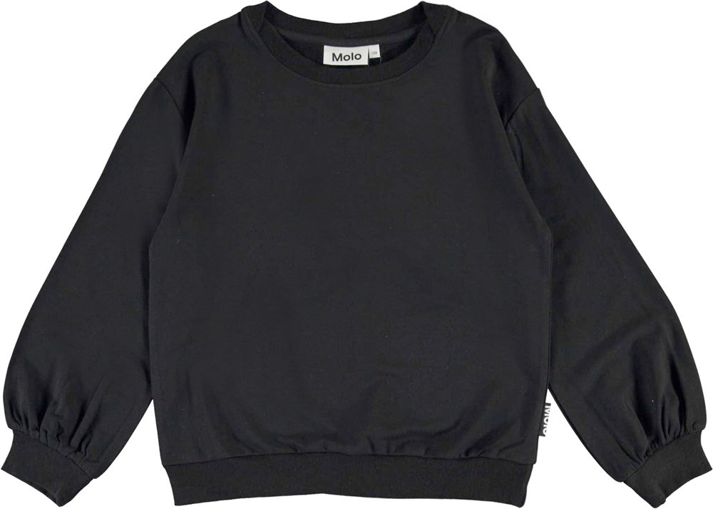 Ryba - Black - Black top with puff sleeves