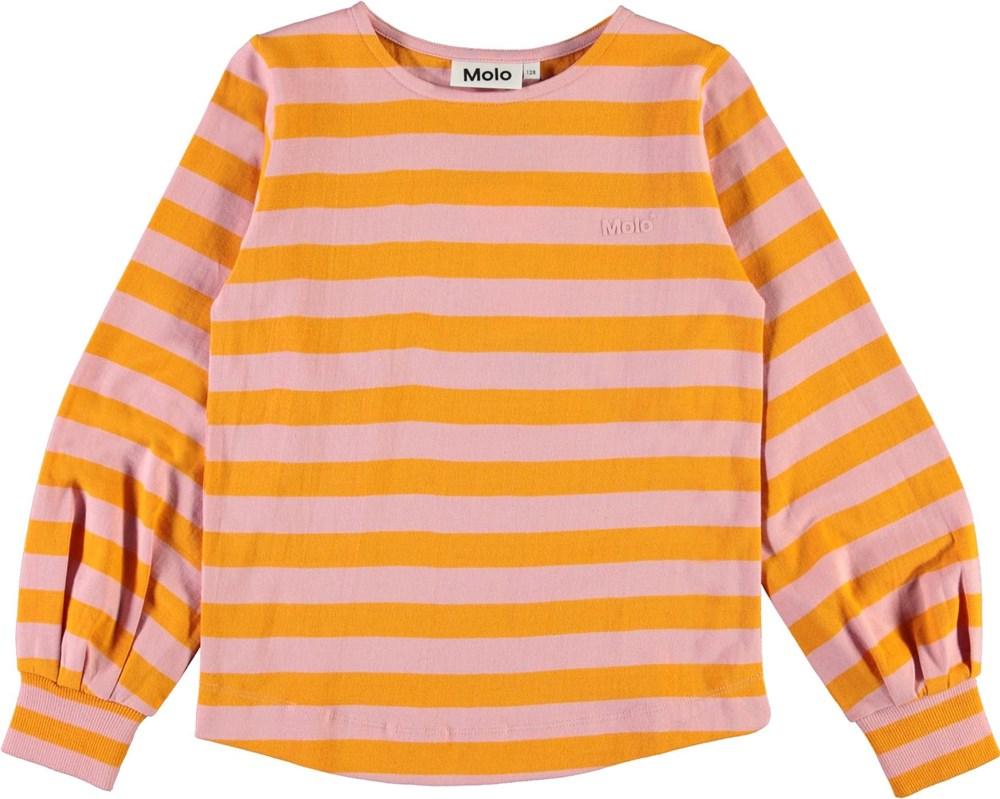 Rylee - Citrus Stripe - Rose and orange striped organic top