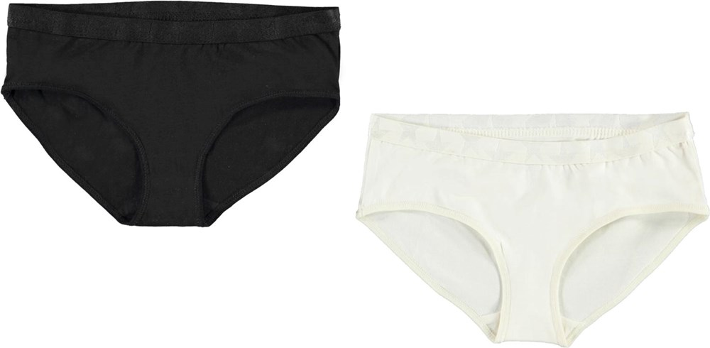 Jana 2-Pack - Black Star - Organic 2-pack knickers in black and white