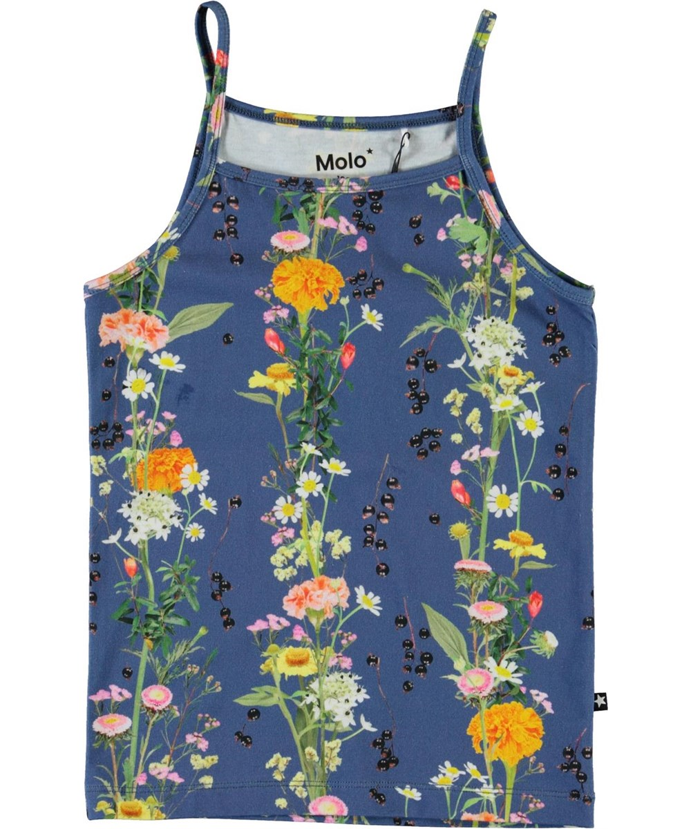 Janice - Vertical Flowers - Blue camisole top with flowers