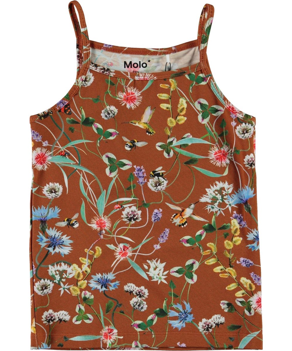 Janice - Wildflowers - Brown organic vest with floral print