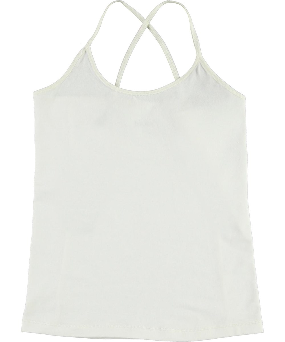 Janis - White Star - White organic top with crossed straps