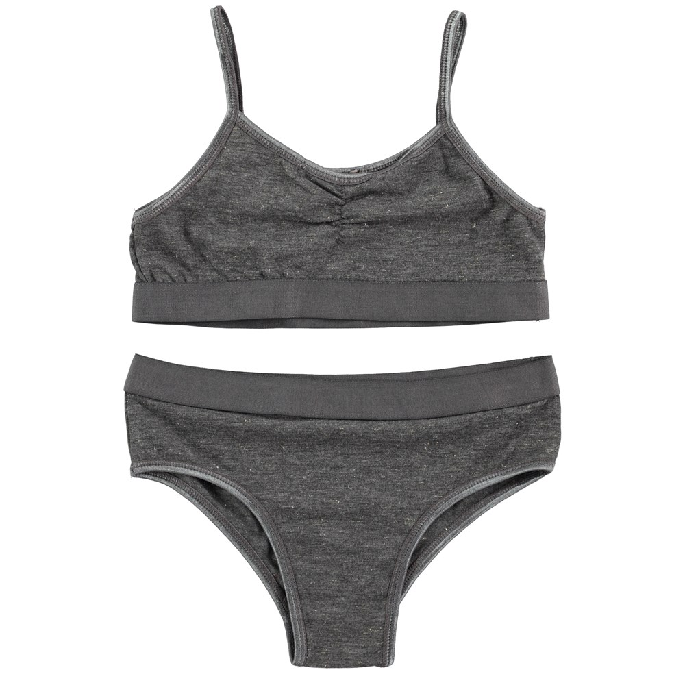 Jinny - Dark Grey Melange - dark grey underwear set