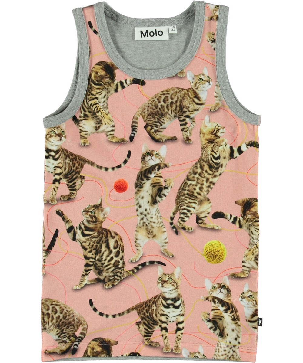 Joshlyn - Wannabe Leopard - Pink vest with cats.