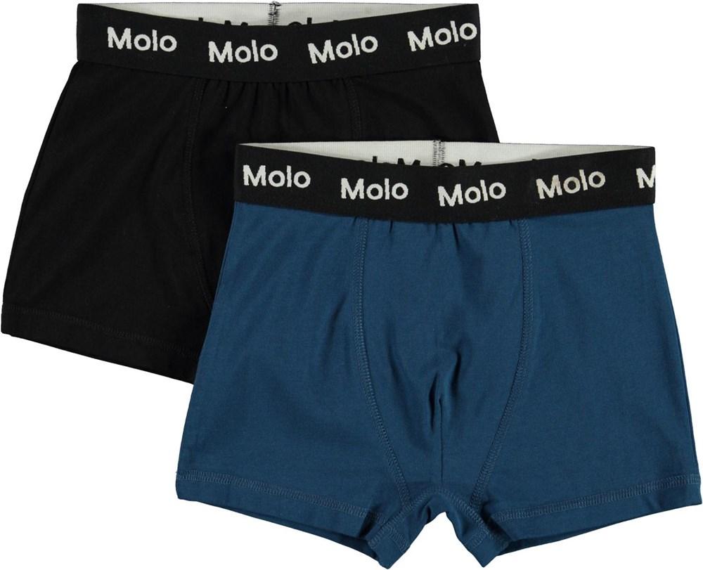 Justin 2-pack - Black Sea - Biologische 2-pak boxershorts in blauw en zwart