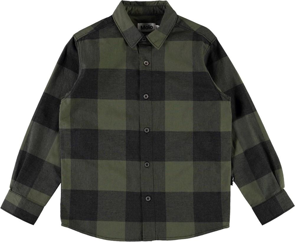 Russy - Green Check - Groen geblokte blouse