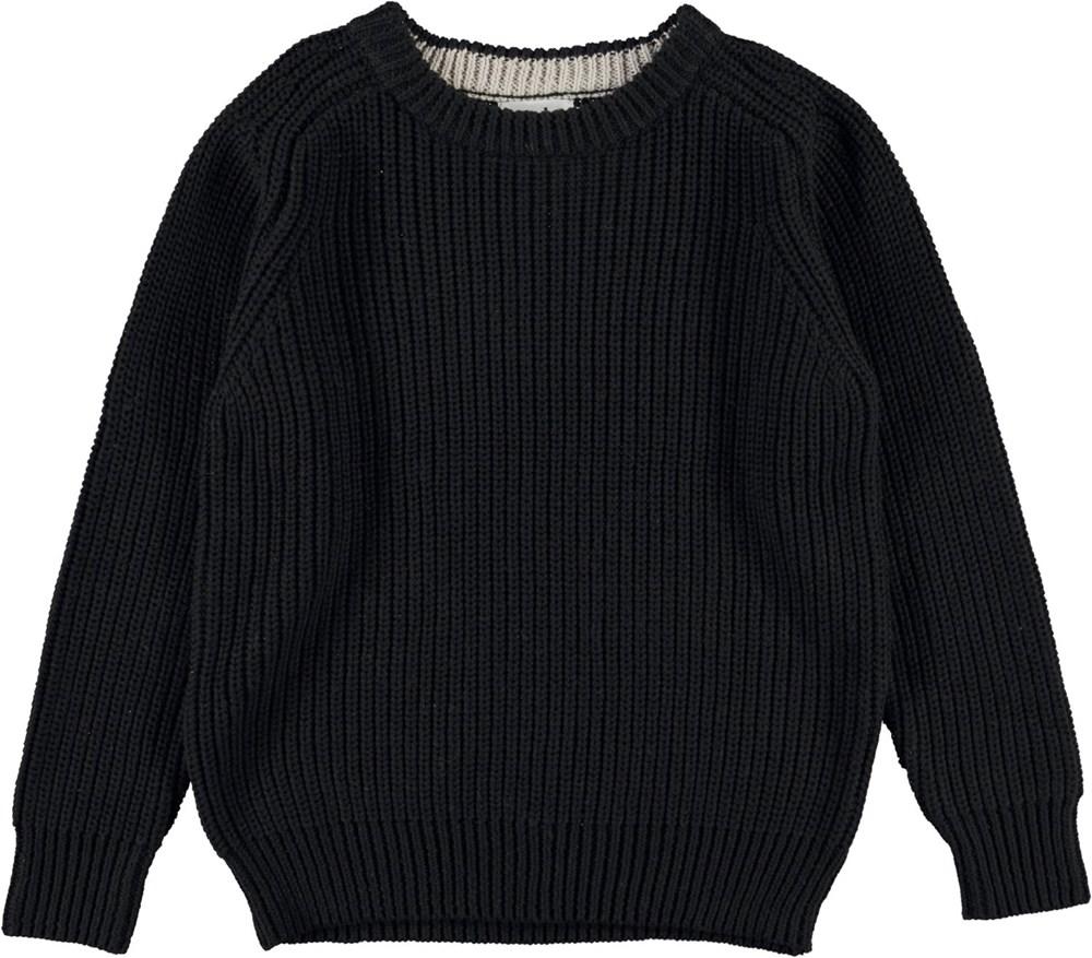 Bosse - Black - Zwarte biologische gebreide katoenen trui