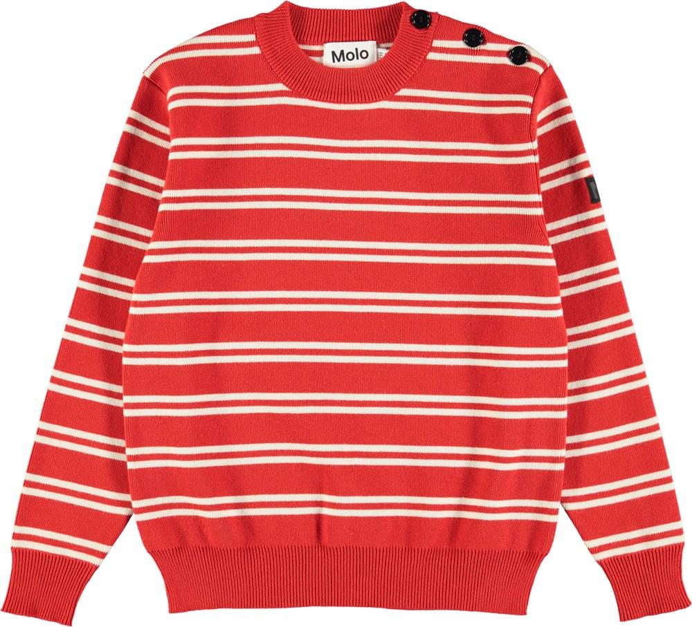 Witte Katoenen Trui.Bror Red Double Stripe Rode Gebreide Trui Van Katoen Met Witte