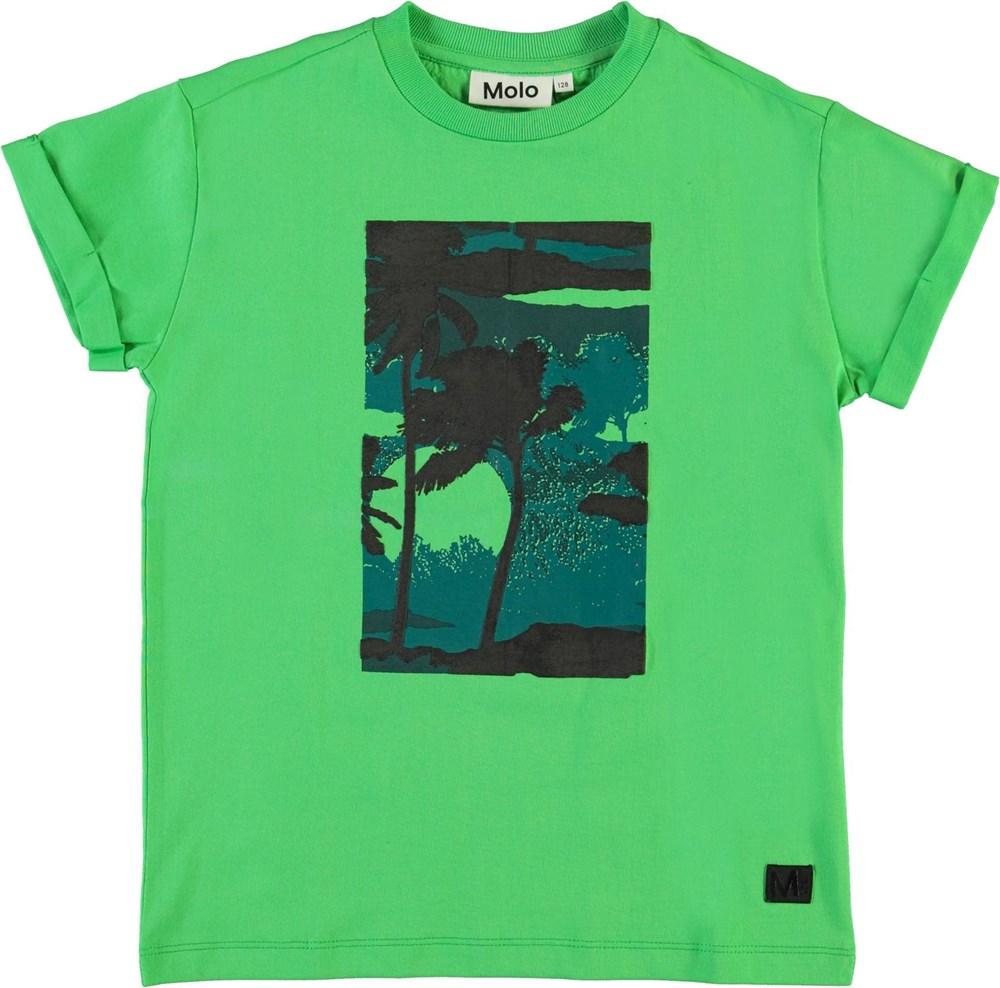 Randon - Scuba Green - Groene biologische t-shirt met palmbomen