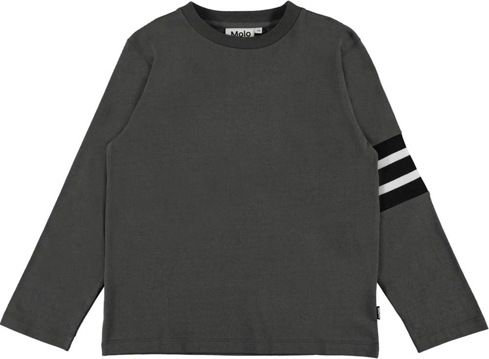 Ras - Beluga - Bruine biologische shirt met lange mouwen en strepen