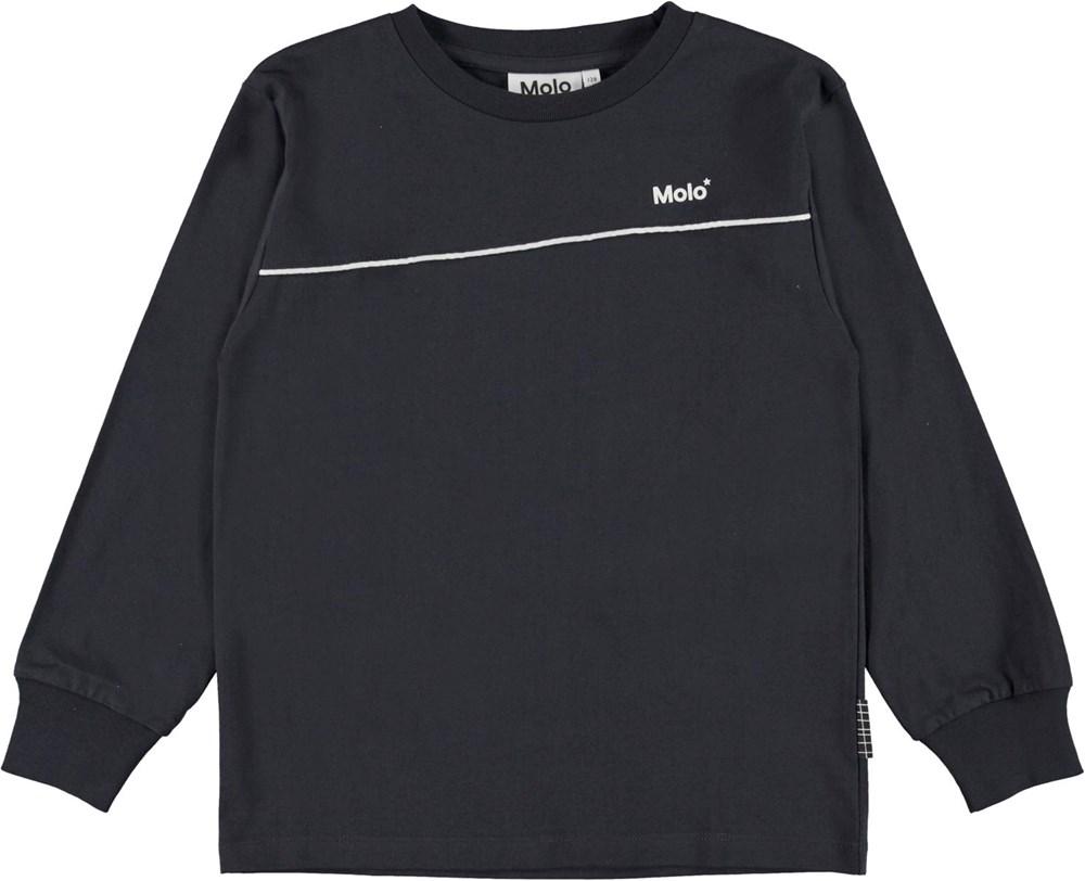 Rasmono - Dark Navy - Donkerblauwe biologische shirt met lange mouwen