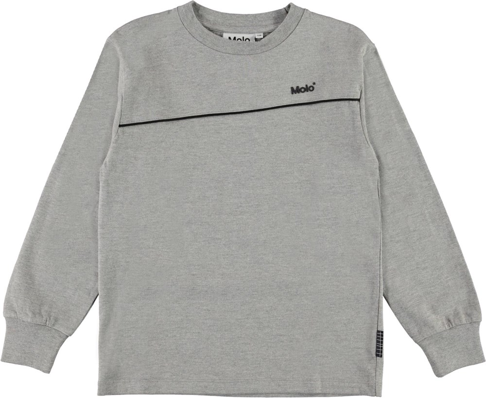 Rasmono - Grey Melange - Grijze biologische shirt met lange mouwen