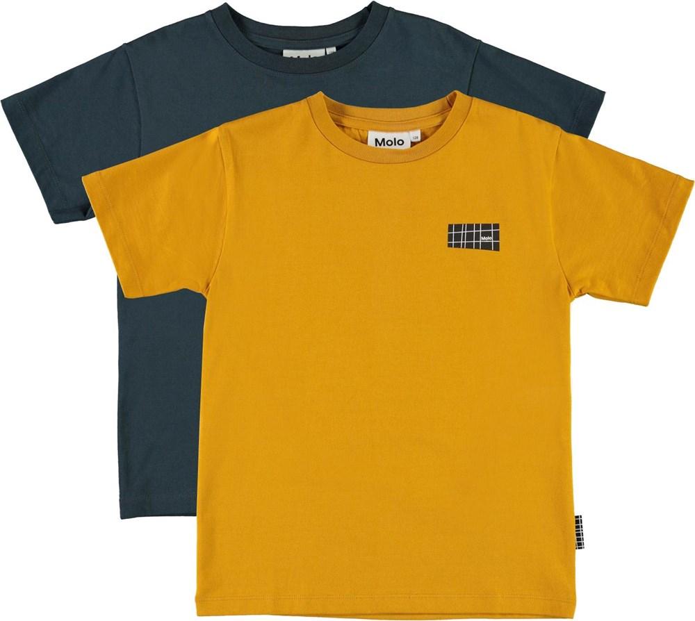 Rasmus 2-pack - Honey Navy - Biologische 2-pak t-shirts in blauw en geel