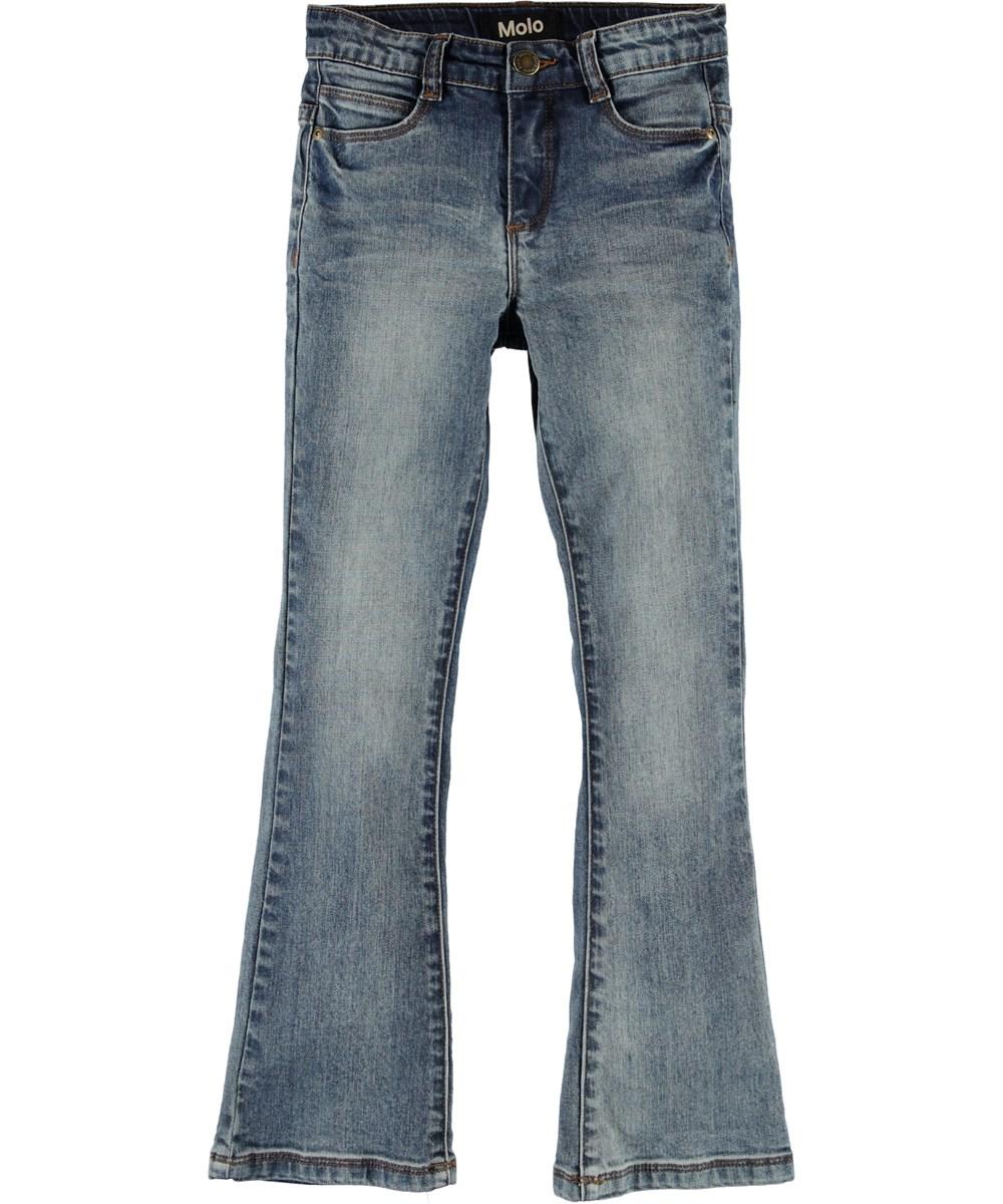 Aliza - Vintage Blue - Blauwe spijkerbroek met wijde pijpen