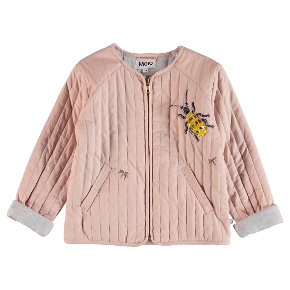 Hatty - Cameo Rose - Gequilt jas met appliqués van parels en pailletten.