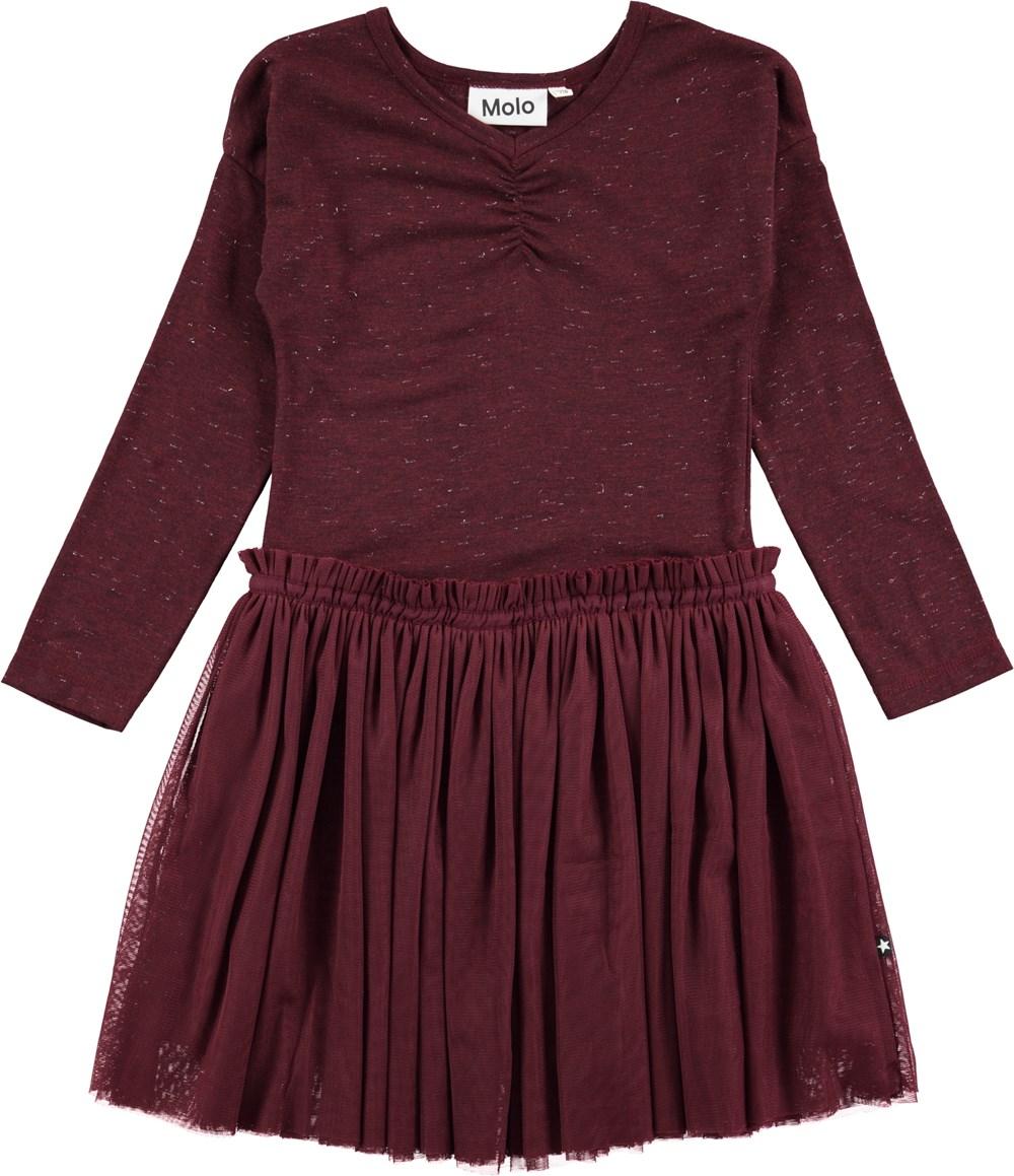 2f07803a0cc128 Celenia - Boysenberry - Bordeaux rode jurk met lange mouwen en tule ...