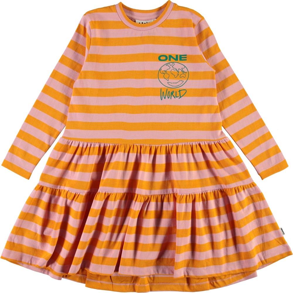 Chia - Citrus Stripe - Roze en oranje biologische jurk