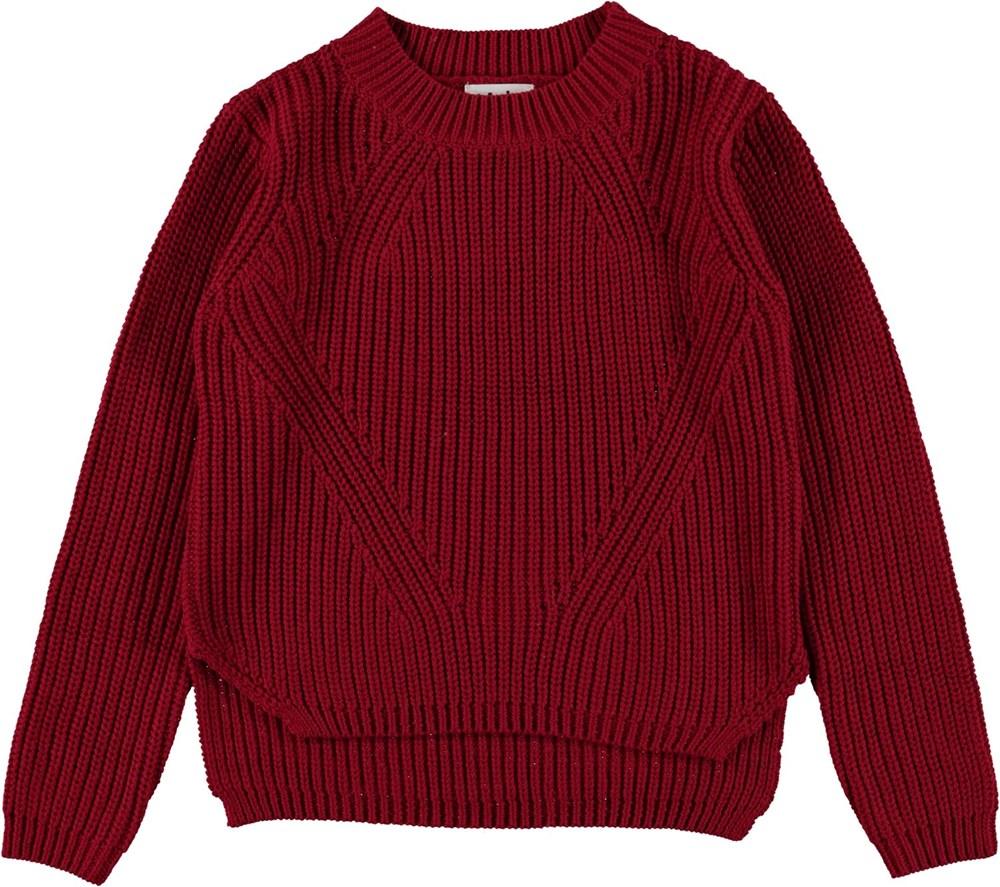 Gillis - Chili - Donkerrode gebreide katoenen trui