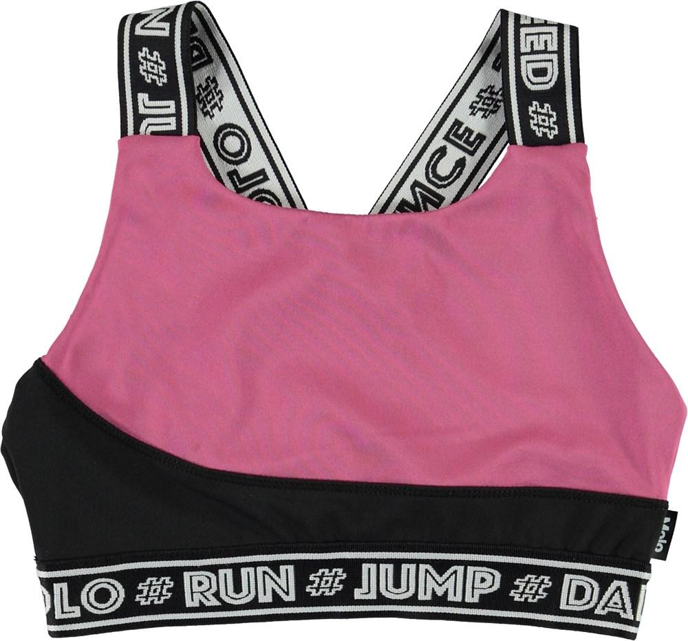 Olivia - Colour Block - Korte zwarte en roze sporttop