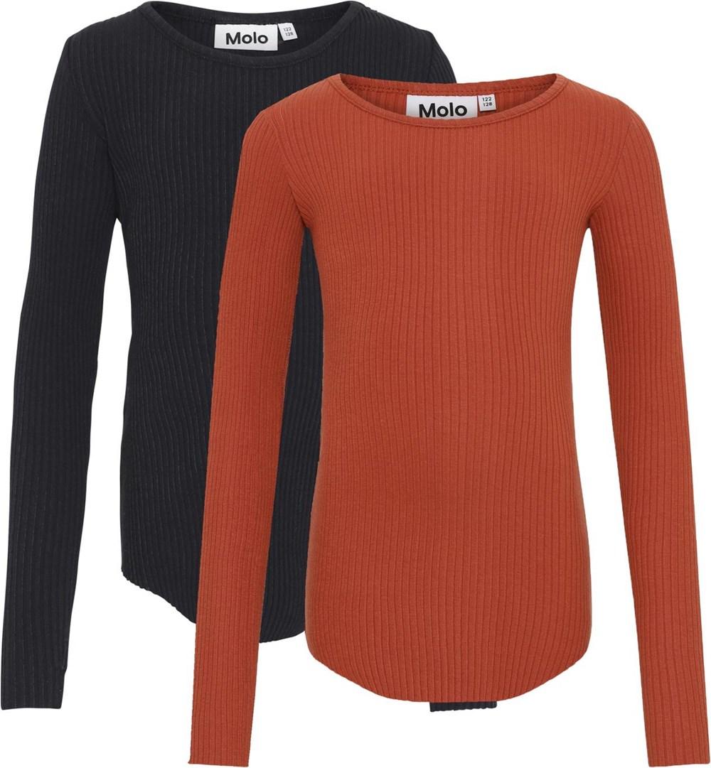 Rochelle 2-Pack - Black Brick - Biologische 2-pak shirts in zwart en rood