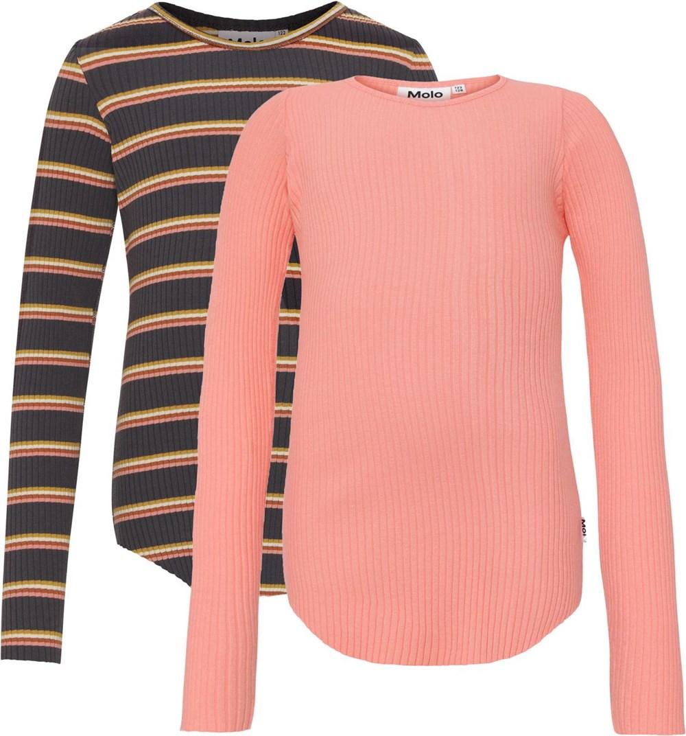 Rochelle 2-Pack - Coral Night - Biologische 2-pak shirt in lichtroze en gestreept