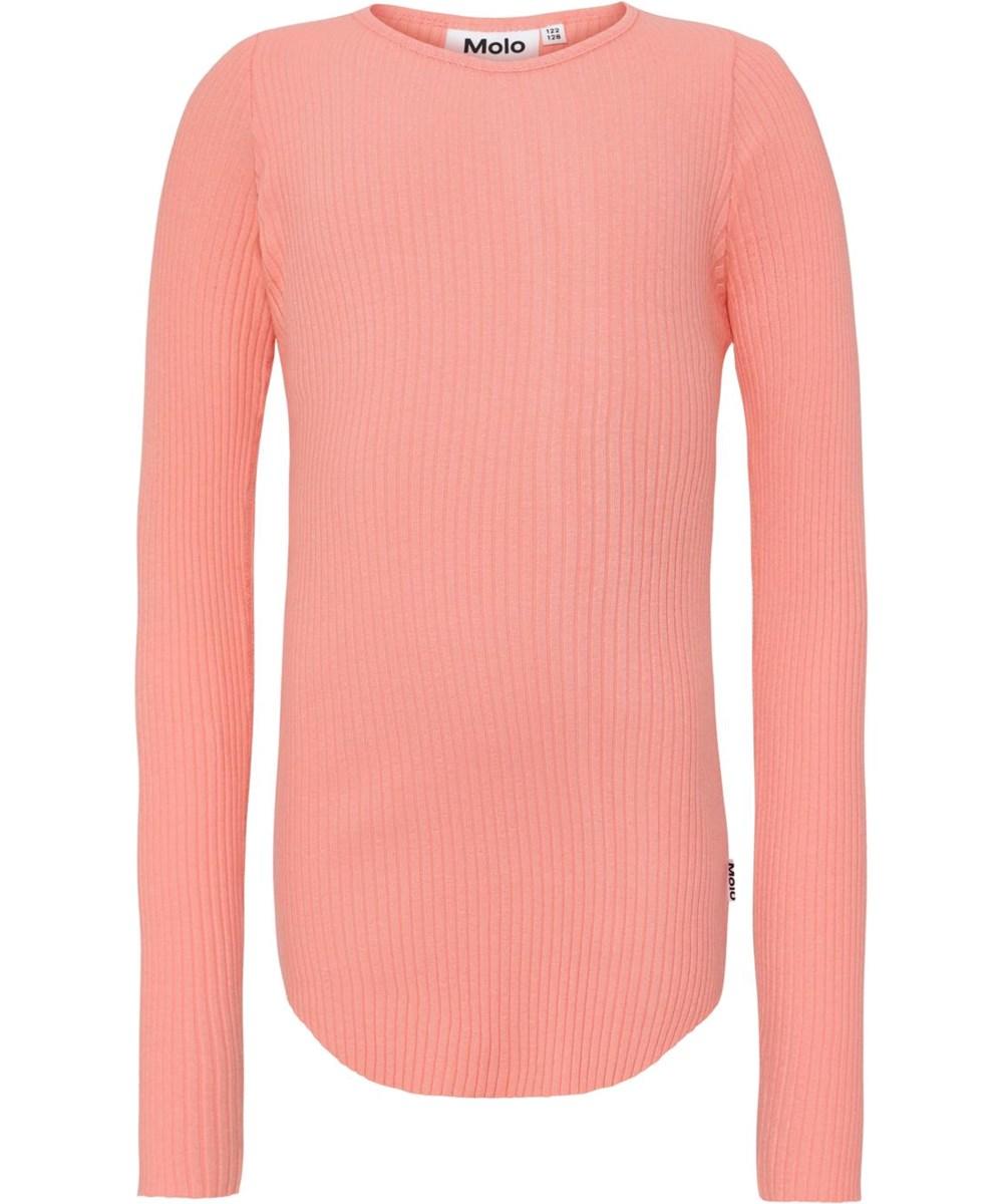 Rochelle - Burnt Coral - Koraalkleurige rib shirt