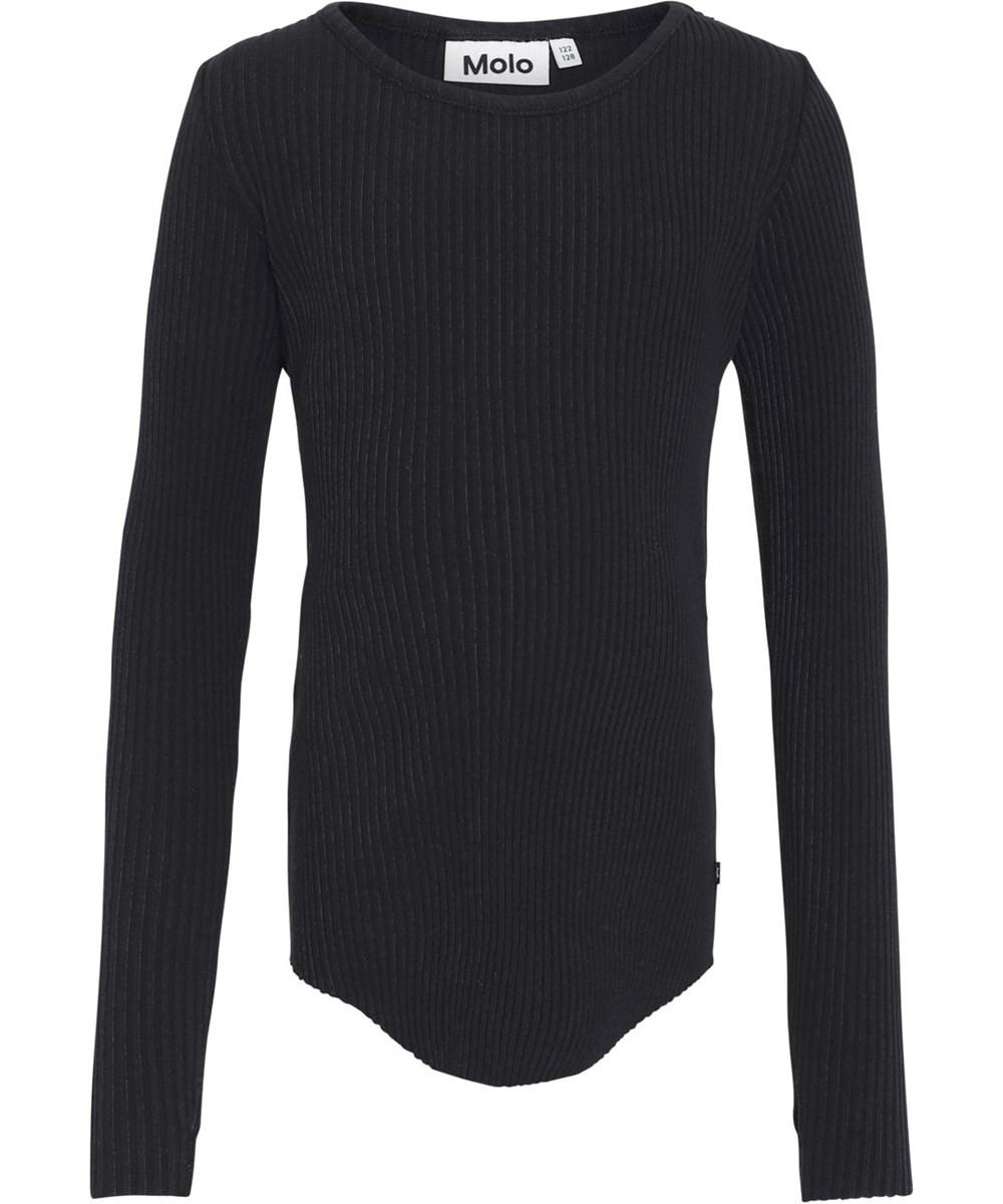 Rochelle - Black - Zwarte biologische rib shirt