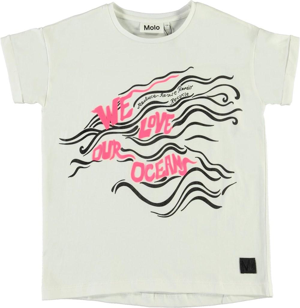 Rozinda - Weloveouroceanpink - Witte biologische Love ocean t-shirt