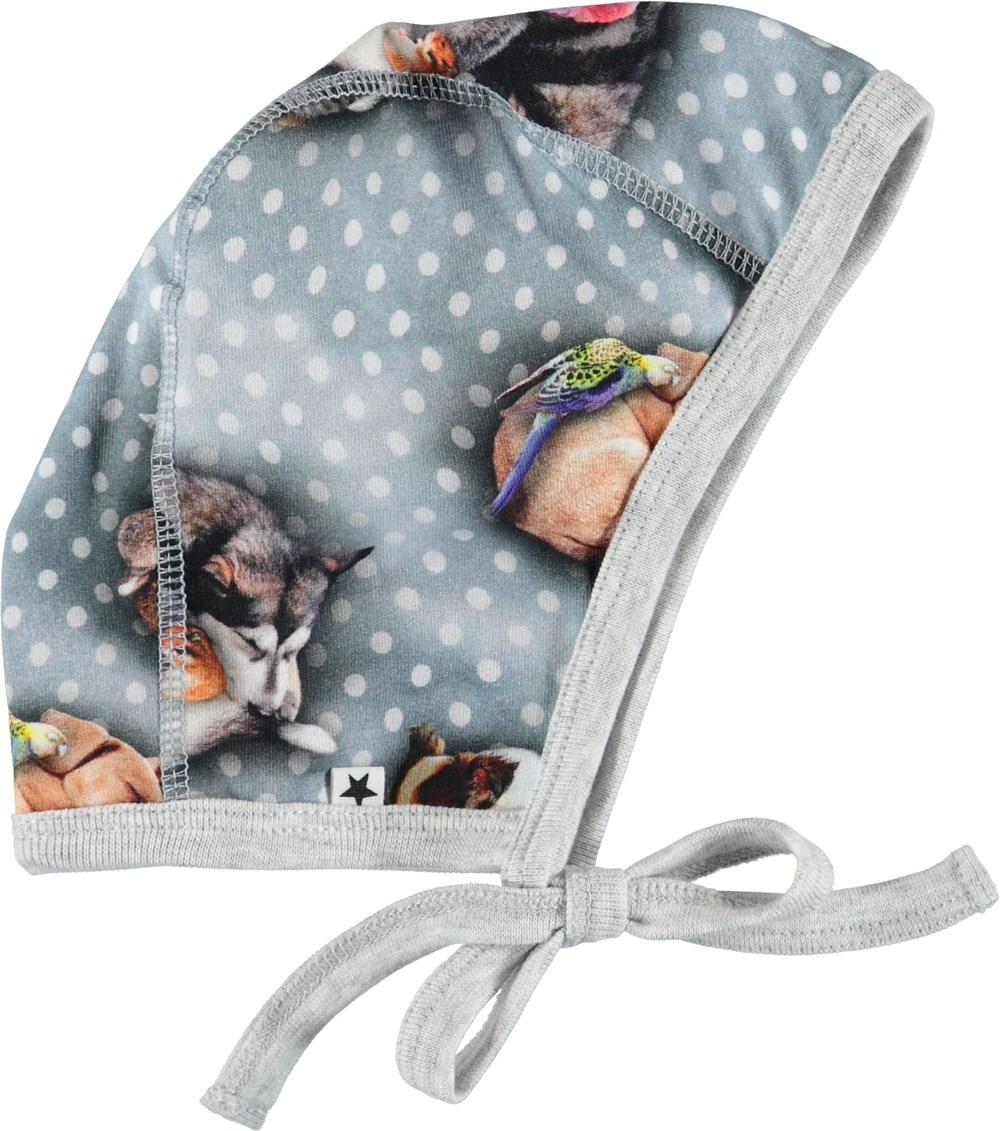 Ninna - Pets'n Dots - Baby hat with dots and animals.