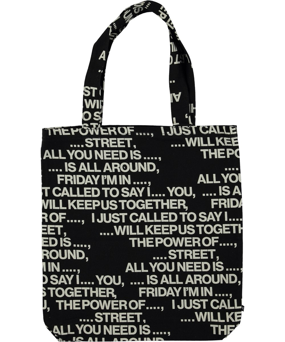 Tote Bag - Love Songs Black - Totebag with text.
