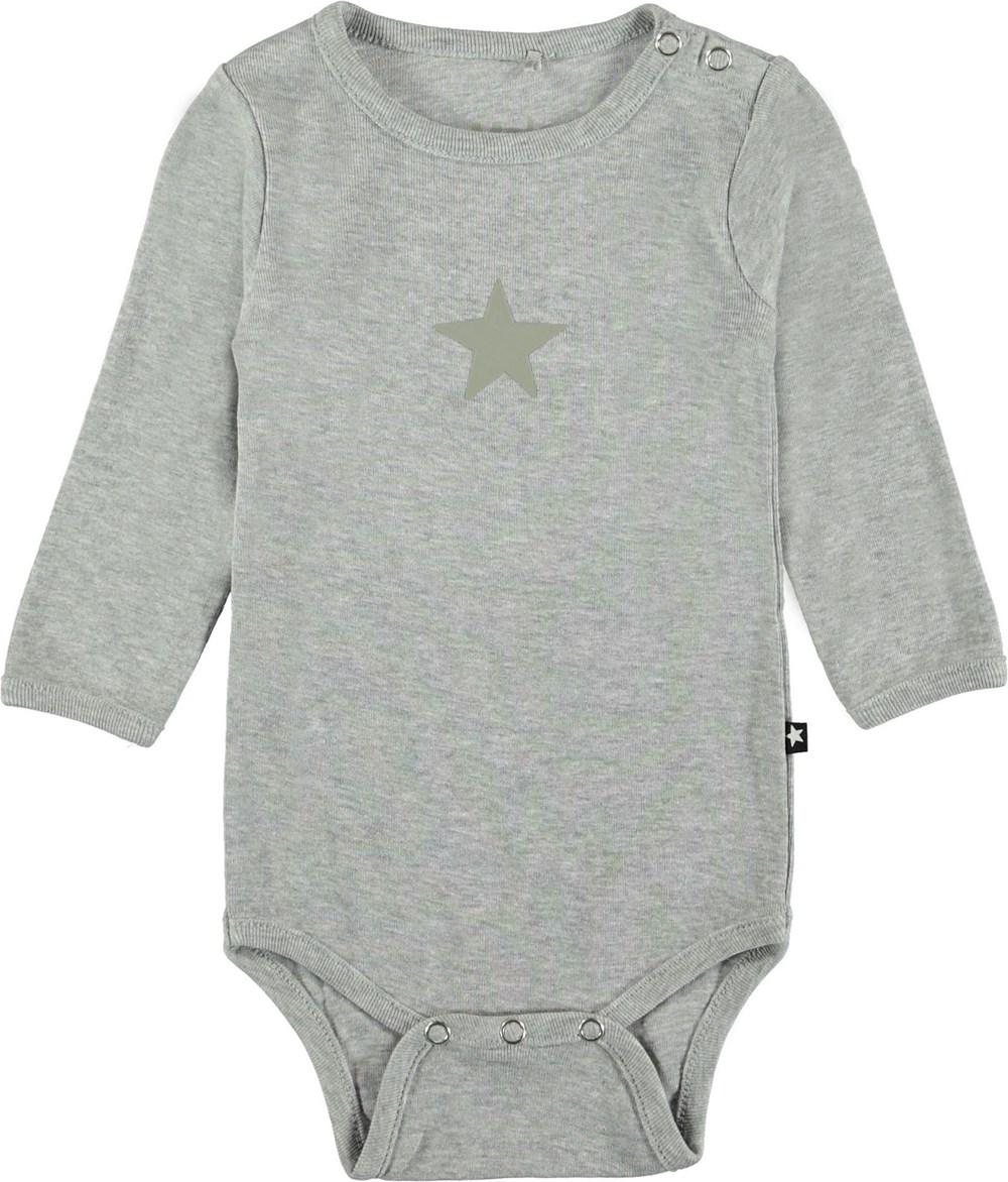 Foss - Light Grey Melange - Grey baby bodysuit.