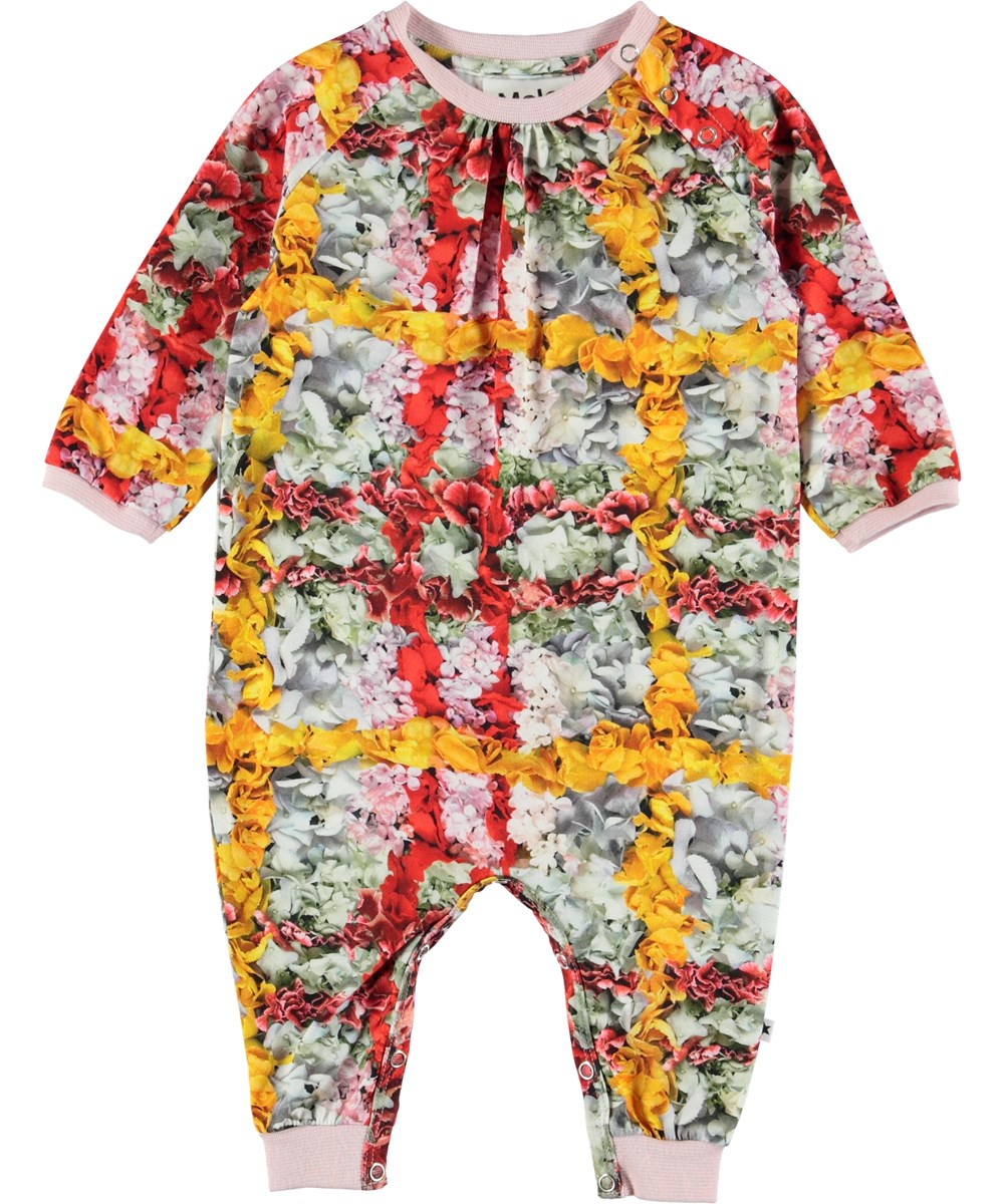 Francine - Checked Flowers - Baby romper with flowers.