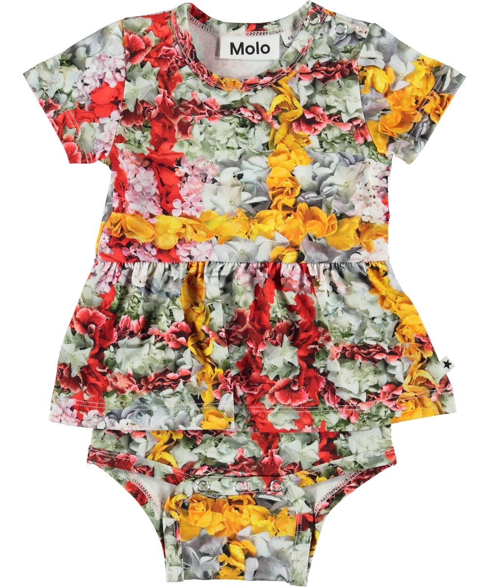 Frannie - Checked Flowers - Baby body med blomster tern.