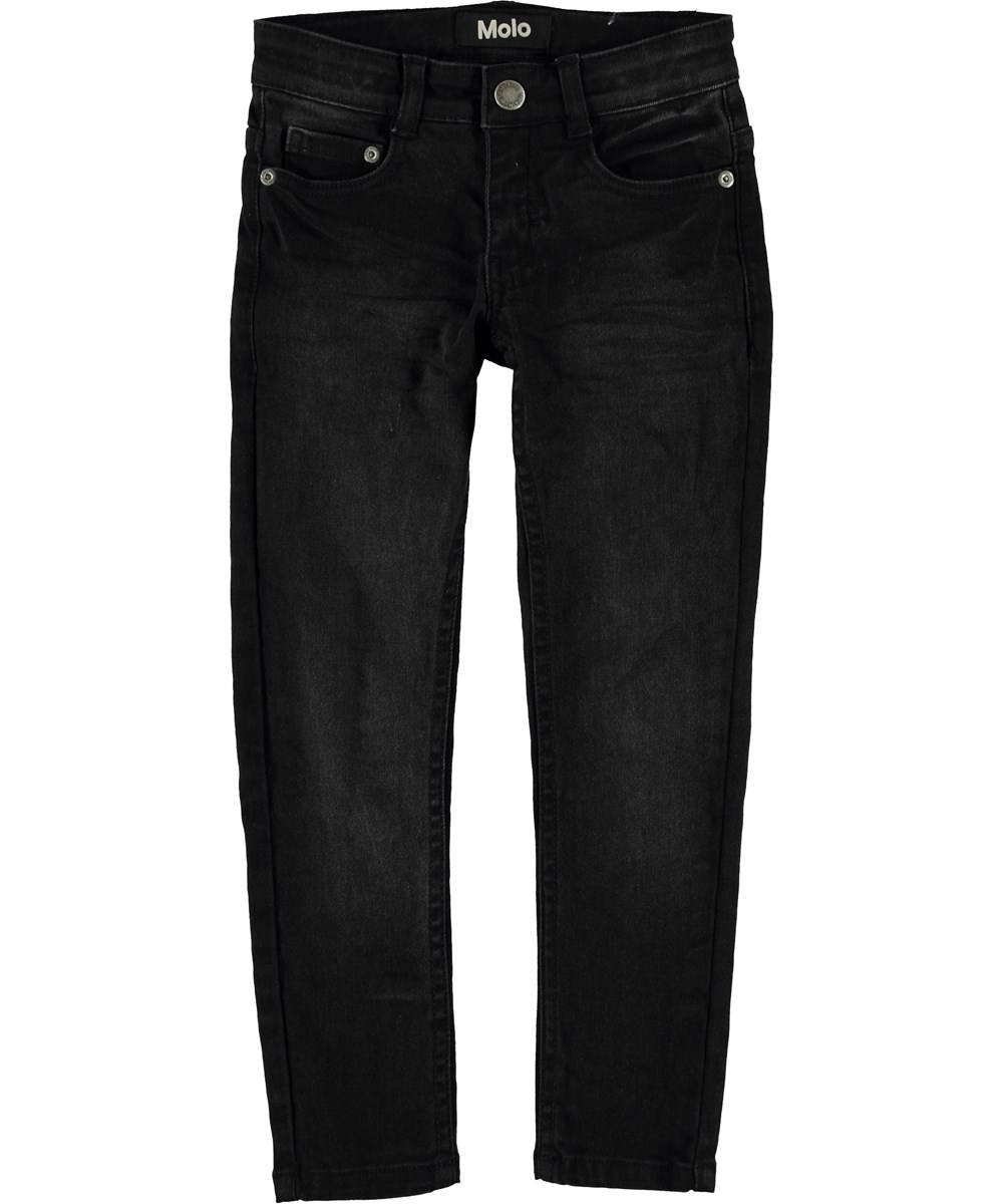 Aksel - Washed Black - Sorte slim fit jeans.