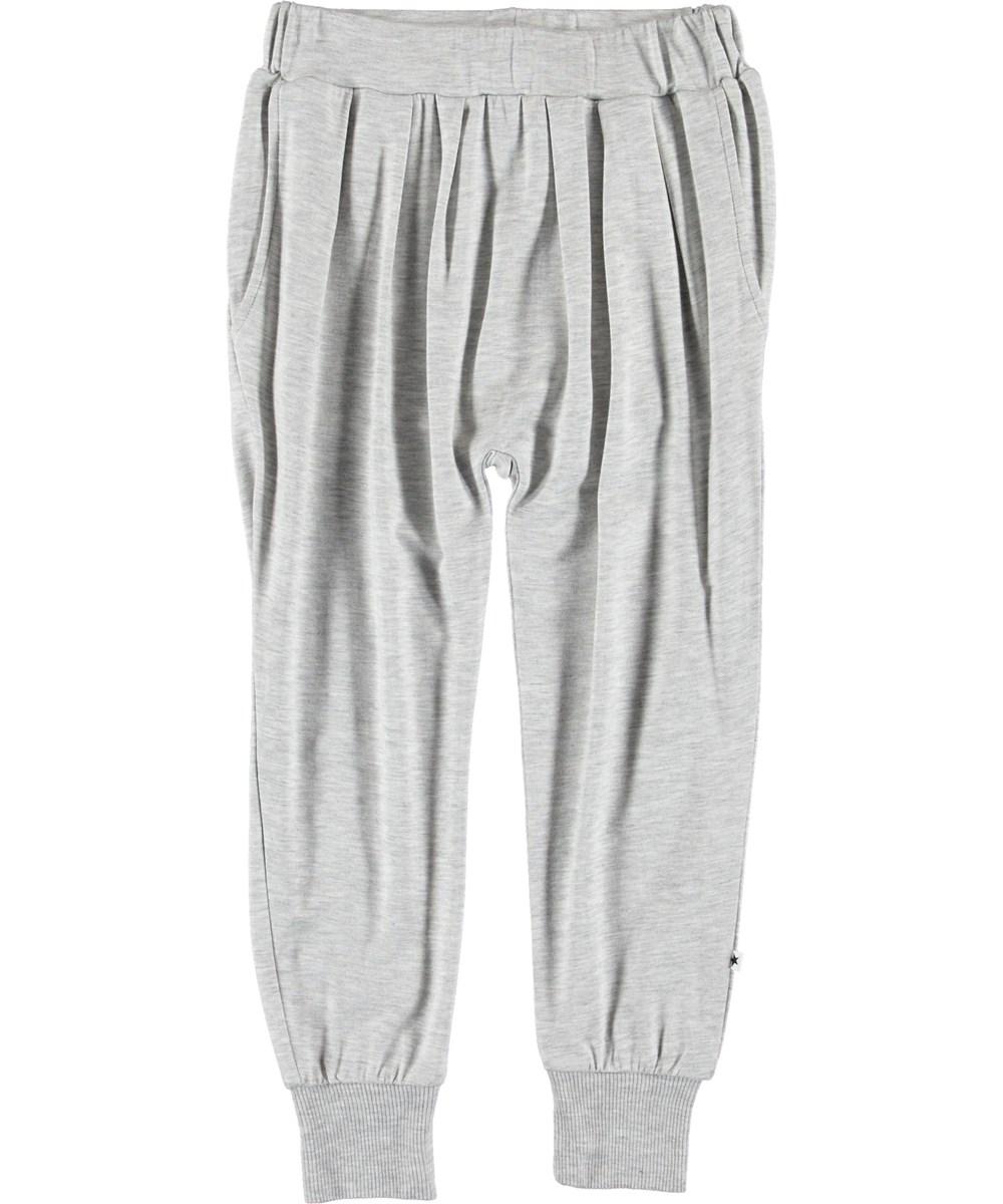 Alida - Light Grey Melange - Grå løse bukser.