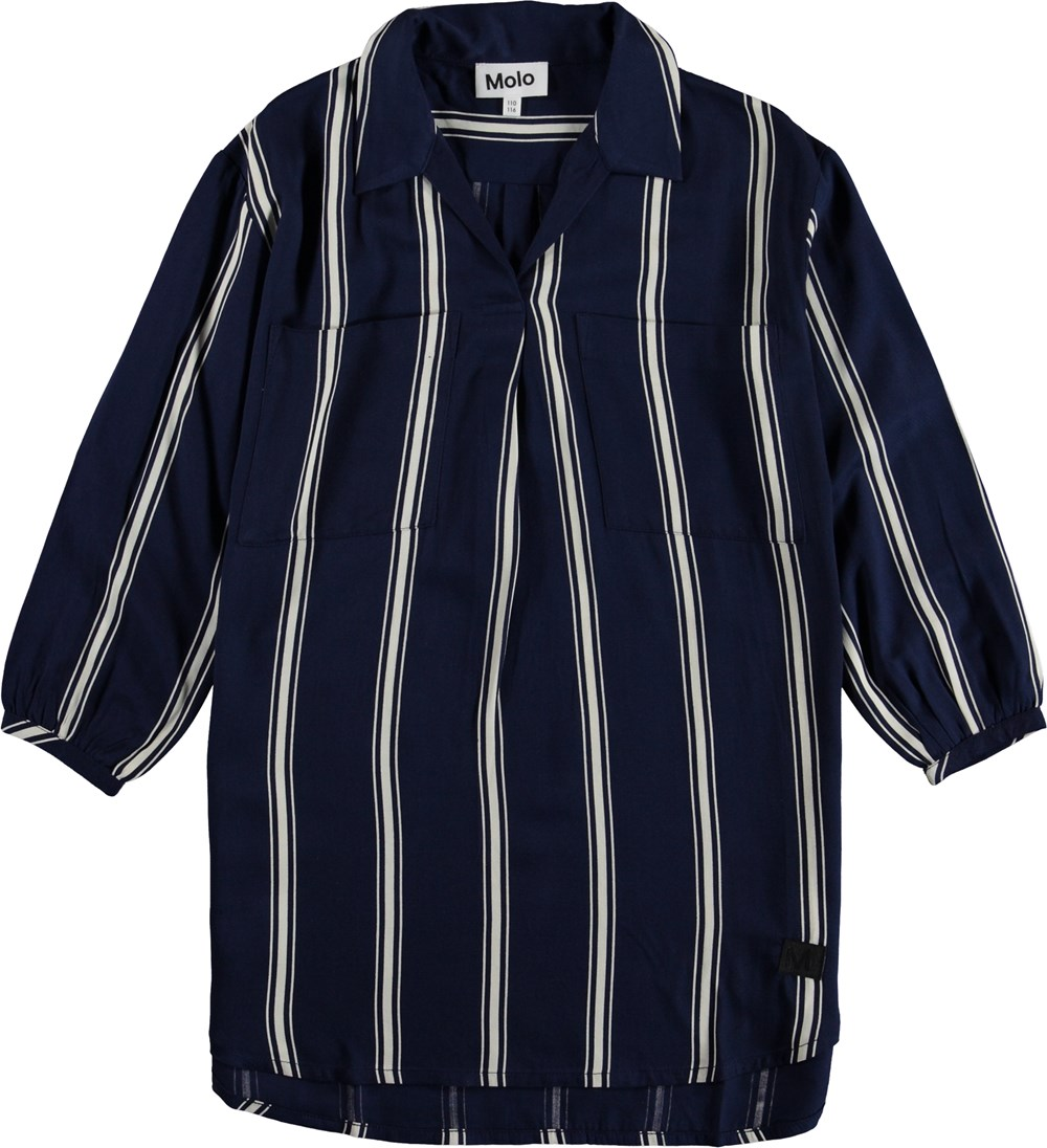 Cadence - Classic Navy - Striped shirt dress.