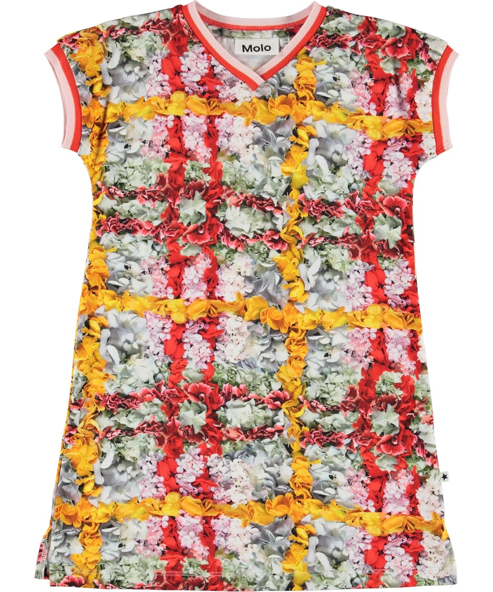 California - Checked Flowers - Dress with flower plaid.