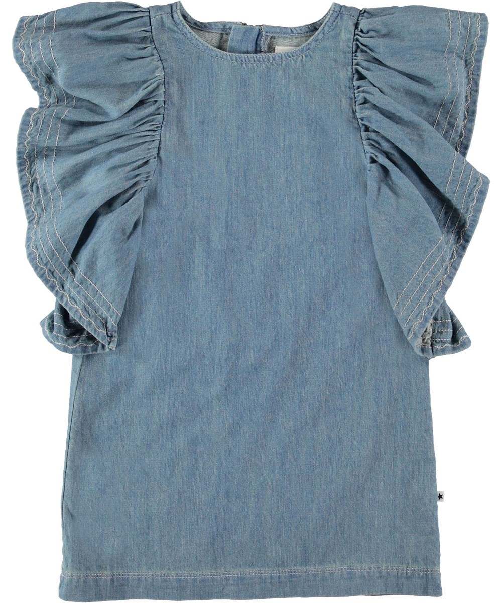 Candis - Washed Denim Blue - Denim dress with ruffle sleeves.