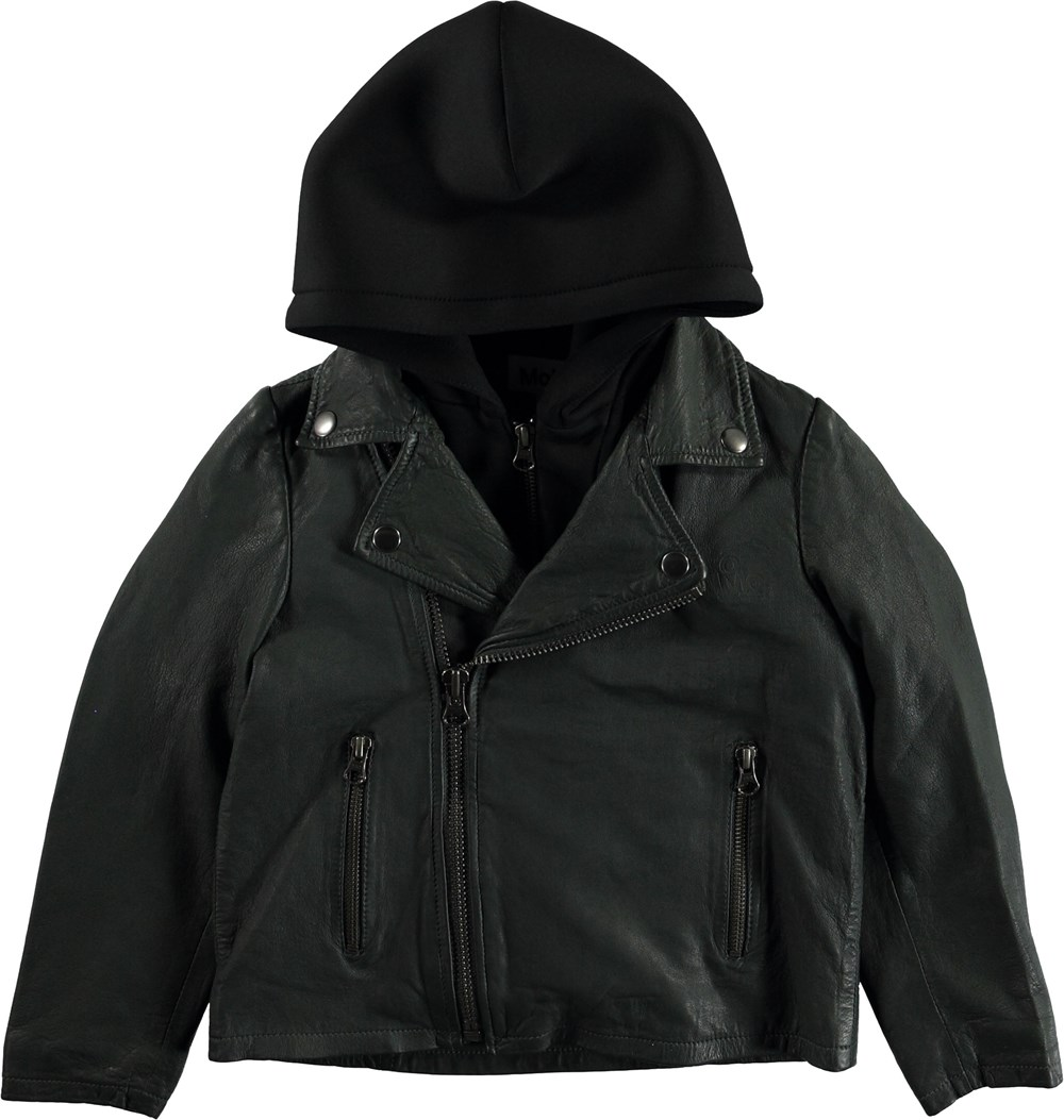 Holtti - Pine Green - Dark green leather jacket with hood.