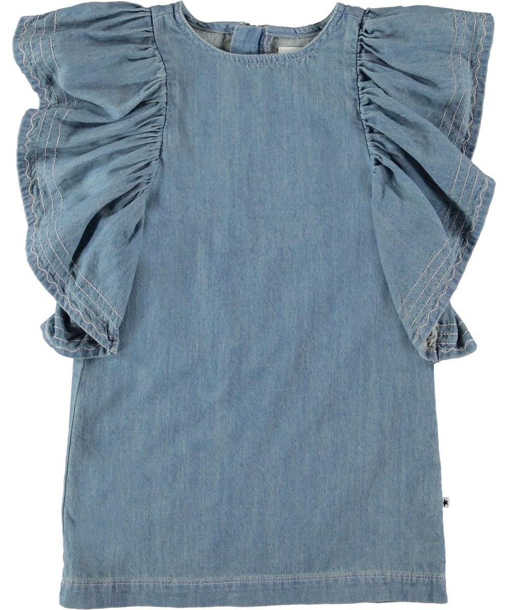 Candis - Washed Denim Blue - Denim kjole med flæseærmer.