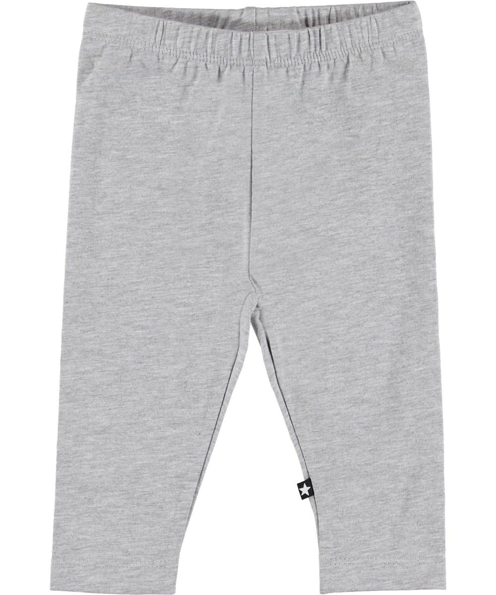 Nette Solid - Light Grey Melange - Grey baby leggings.