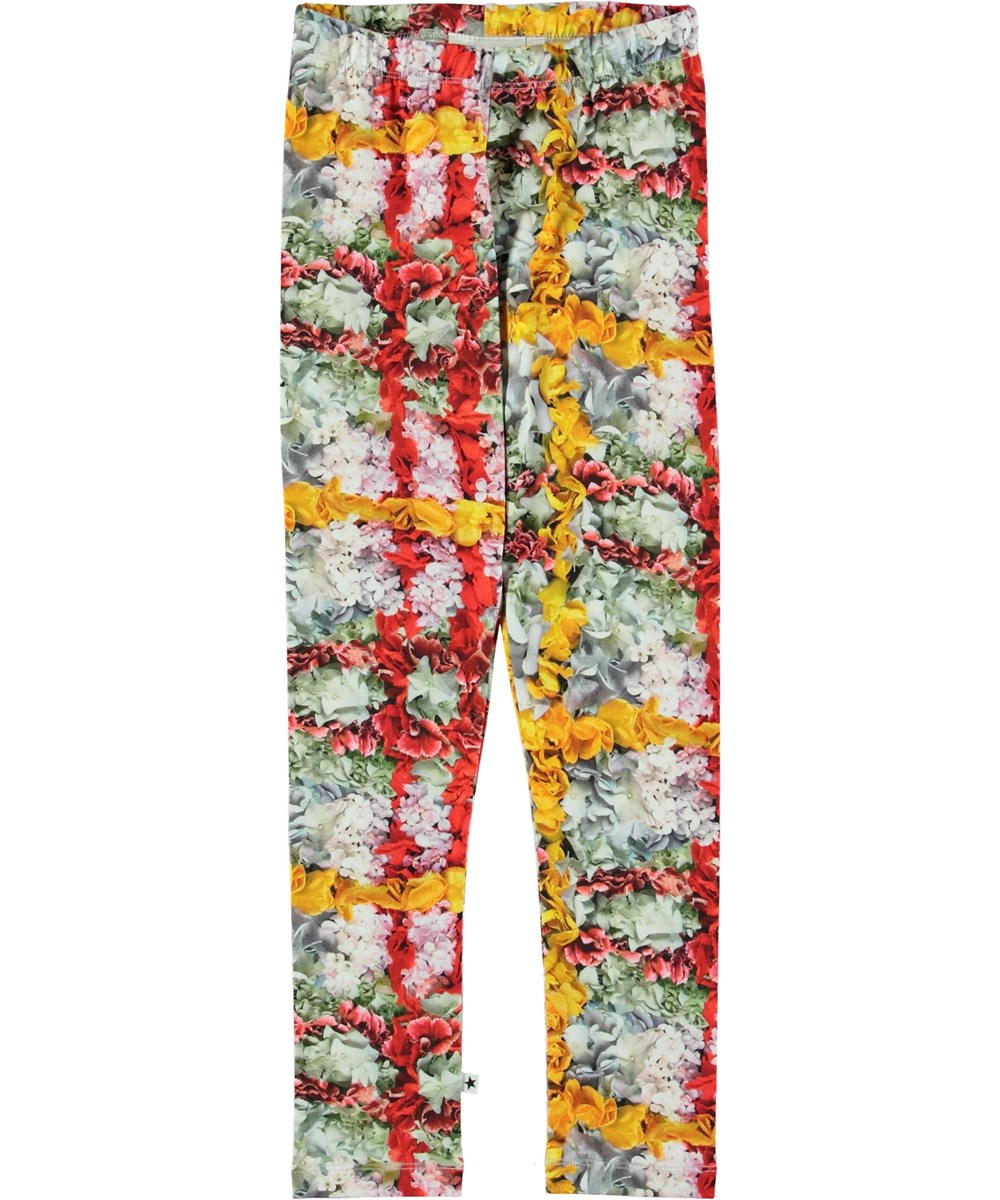 Niki - Checked Flowers - Leggings with flower plaid.