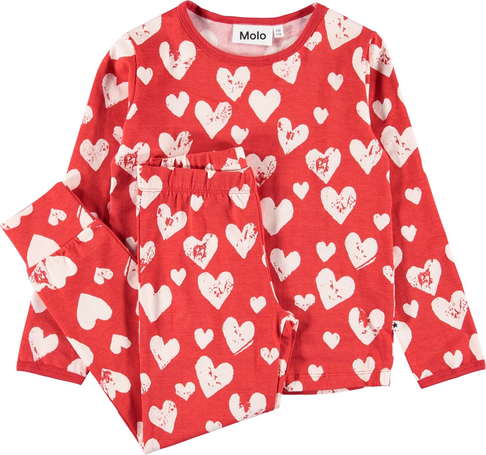 Lov - Red Love - Red nightwear set with hearts.