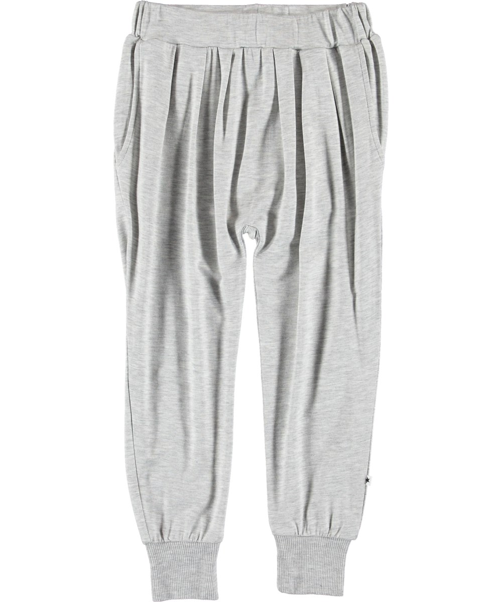 Alida - Light Grey Melange - Grey loose trousers.