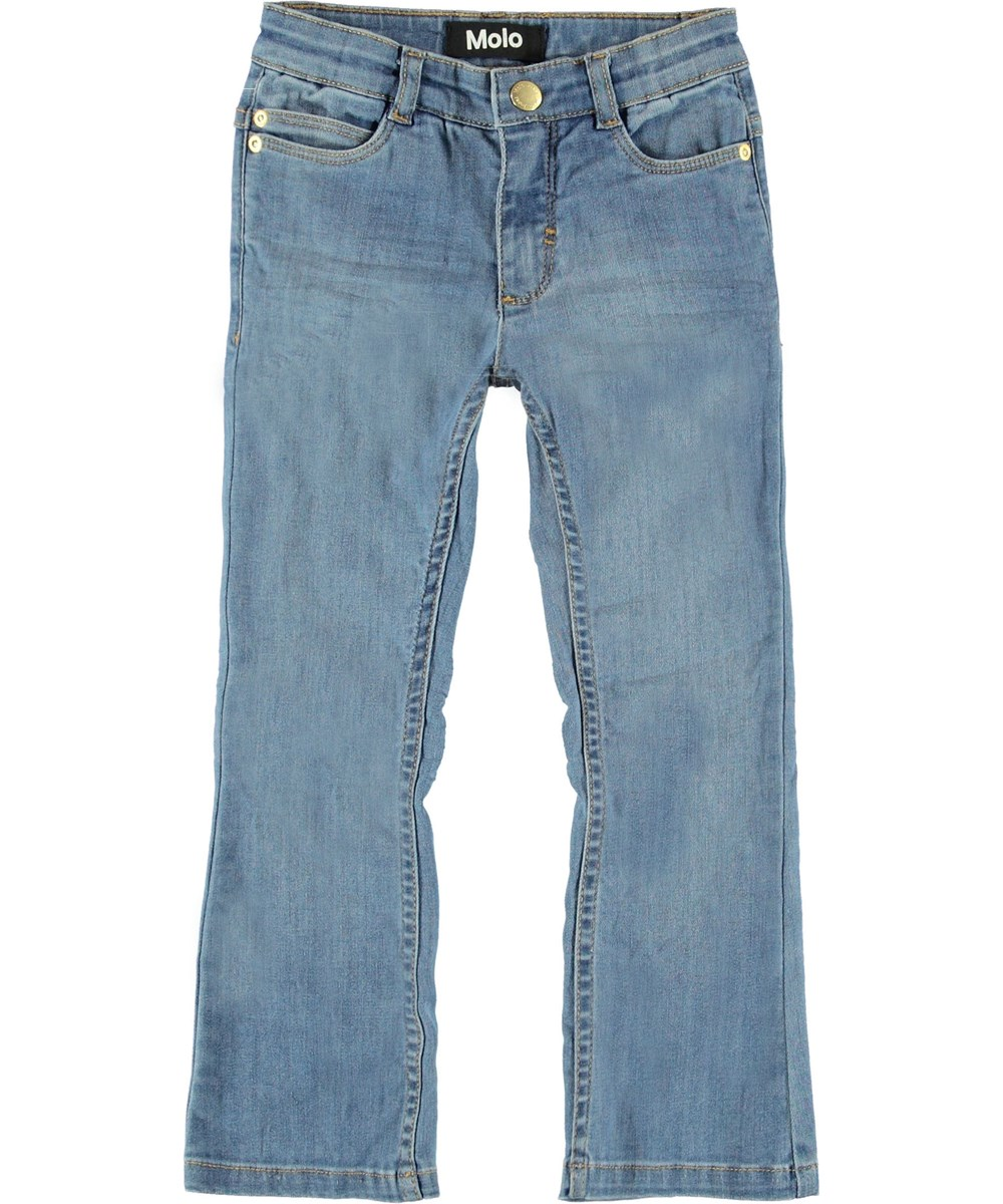 Aliza - Light Washed Blue - Blue bootcut jeans.