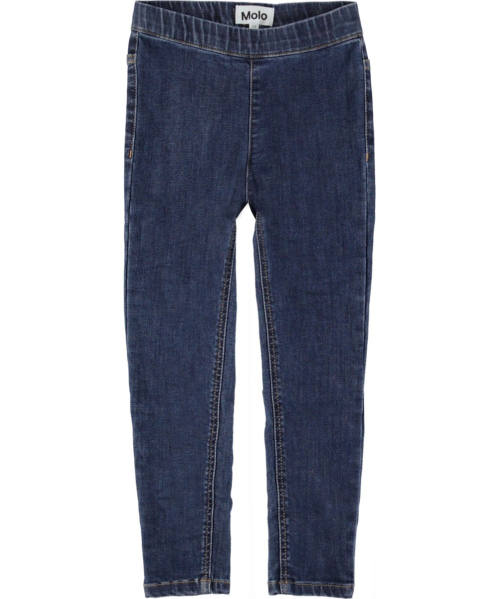 April - Washed Blue Denim - Blue jeggings.