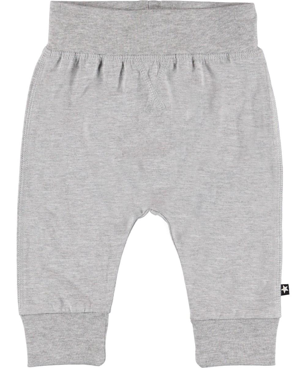 Sammy - Light Grey Melange - Grey baby trousers.
