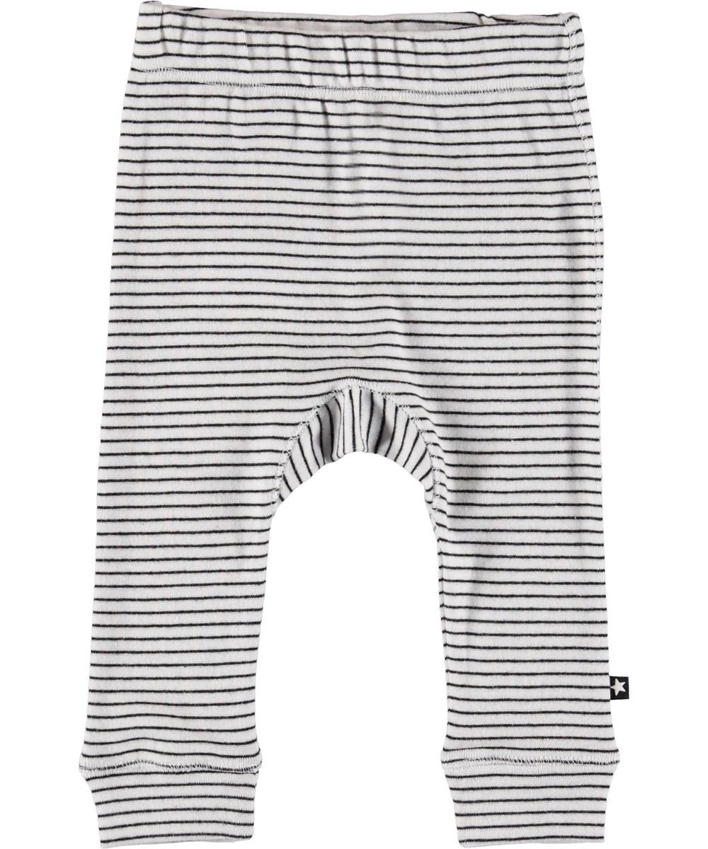 Seb - Black`N White Stripe - Baby trousers with stripes.